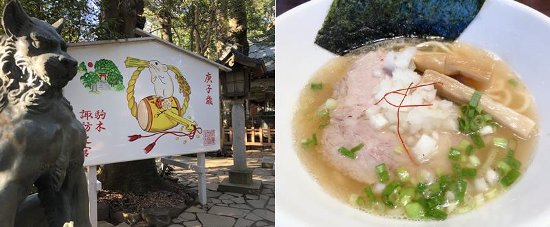 諏訪神社と麺処ひぶた